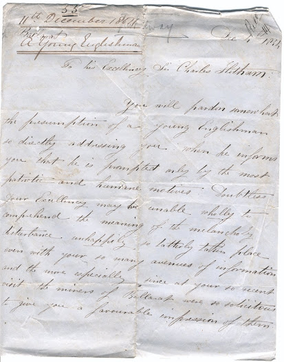 "This letter to Lieutenant Governor Charles Hotham, dated 4 December 1854, and signed only 'A Young Englishman', emphasises the role of Englishmen in the disturbances at Ballarat, contrary to reports that it was the work of foreigners. The letter writer also stresses that it was official misgovernment that provoked anger at Eureka, particularly with regard to the handling of the Scobie murder. In very florid terms, the writer demonstrates the diggers' love of liberty, and how the authorities at Ballarat had trampled on it. <a href=""http://wiki.prov.vic.gov.au/index.php/Eureka_Stockade:A_letter_from_a_young_Englishman_living_in_Ballarat_supporting_the_diggers_movement"">Click here to see more of this record on our wiki</a>"
