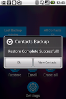 Screenshot of Contacts Backup and Restore