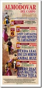 Cartel de mano anunciador de la feria taurina almodovareña 2008.