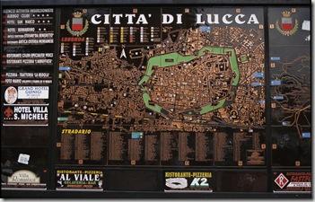 Stadskarta över Lucca