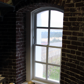Windows, only windows by Bill Waterman - Buildings & Architecture Public & Historical ( window, lighthouse, bricks, steps, ocean view,  )