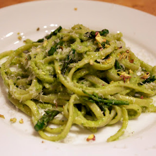 Pistachio Asparagus Pesto on Linguine