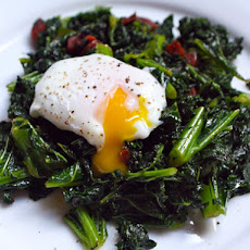 Kale with Chorizo and Poached Eggs
