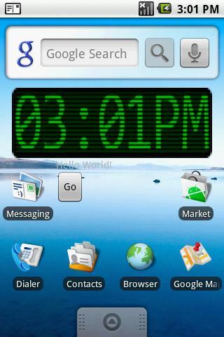 Green Scan Lines Clock Widget