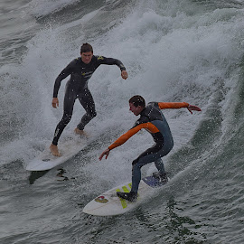 Two Surfers by Jose Matutina - Sports & Fitness Surfing ( surfer, orange county, california, sea, ocean, surf, huntington beach,  )