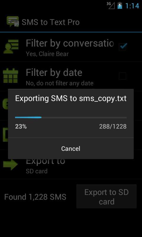 Увеличить - скриншот из SMS to Text Pro для Android.