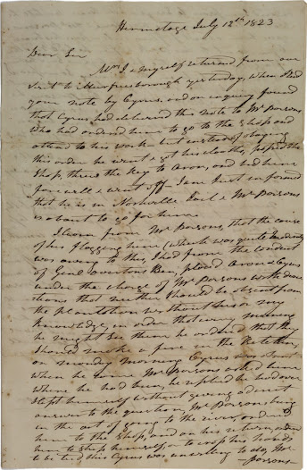 """In this <a href=""""http://www.gilderlehrman.org/collections/5b37e65e-2c14-49ff-9503-140335505648"""">letter</a> to Hardy Cryer, a Methodist preacher in Sumner County, Tennessee, Andrew Jackson describes the flogging and subsequent escape of a slave named Cyrus. Jackson says that Cyrus has been found and """"shall not be abused, but he must be taught subordination.""""  Cryer may have been interested in buying Cyrus. The letter reveals that Jackson directly supervised his slaves, as did other American presidents such as Jefferson and Polk."""