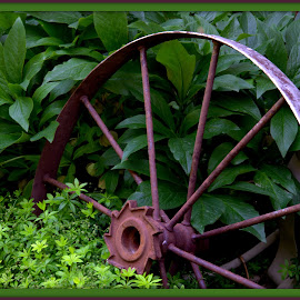 Wagon Wheel in a Garden by Wendy Thorson - Artistic Objects Other Objects