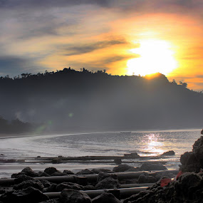 Sunrise over Sipelot by Pradono Gunawan - Landscapes Beaches ( beach, sunrise, landscape )