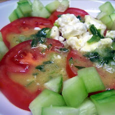 Tomato and Cucumber Salad With Feta and Honey Mustard Dressing