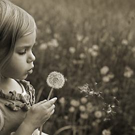 by Tiona Anglin Appel - Babies & Children Children Candids ( b&w, candids, children, flower )