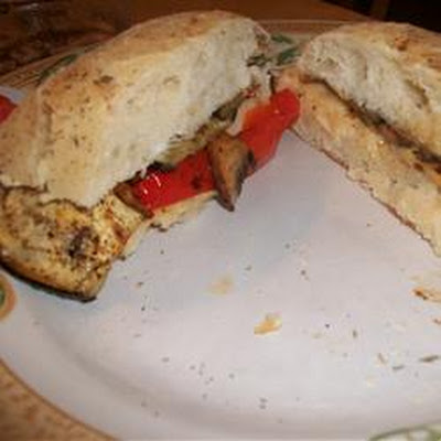 Portobello, Eggplant, and Roasted Red Pepper Panini