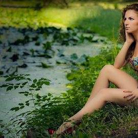 Beauty of Nature by Marius Marcoci - People Portraits of Women ( nature, awesome, lady, lake, beauty )