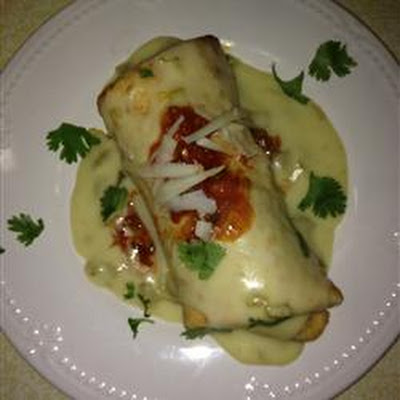 Chicken Chimichangas with Sour Cream Sauce