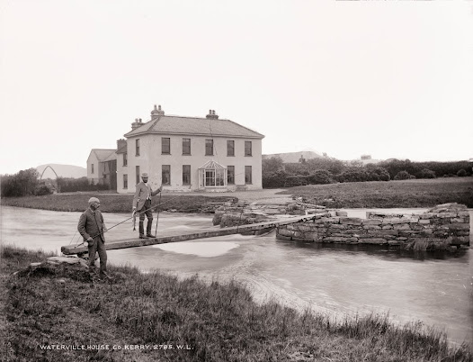Fishing for salmon and trout near Waterville House, Co. Kerry (L ROY 2785). The house was built between 1775 and 1790 by Theobald Butler.