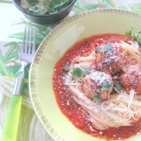 Recipe For Turkey Meatballs With Quick Tomato Sauce On Angel Hair Pasta