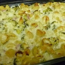 Baked Shells and Broccoli With Ham and Cheesy-Creamy Cauliflower