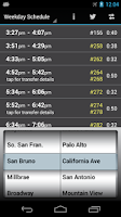 Screenshot of Caltrain Droid