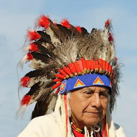 Proud Leader by Kathy Tellechea - People Portraits of Men ( umatilla, american indian, headdress, buckskins, feathers, man, chief, native american,  )