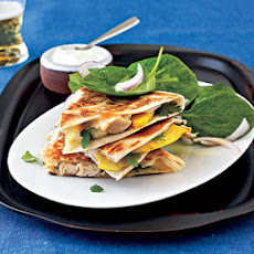 Pepper Jack, Chicken, and Peach Quesadillas