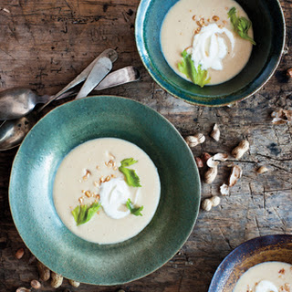 Roasted Peanut Soup with Honey Whipped Cream