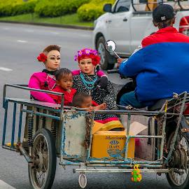 Strange Outing! by John Greene - People Street & Candids ( strange, motorbike, thailand, children, motorcycle, john greene, pattaya )