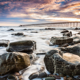Goleta Shores by Chris Moyer - Landscapes Waterscapes ( clouds, shore, warm, california, sea, pacific, ocean, tide pool, pool, sunset, movement, tide, rocks, goleta )