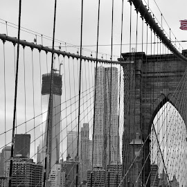 Brooklyn Bridge by Joe Adams - Buildings & Architecture Bridges & Suspended Structures ( brooklyn bridge, flag, black and white, world trade center, pop, manhattan, usa )