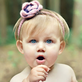Cake by Melanie Pista - Babies & Children Babies ( face, cake, headband, blue eyes, pink )