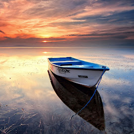 Beautiful Sunrise by Calvin Go - Transportation Boats ( bali, indonesia, sanur, lowtide, sunrise, boat )
