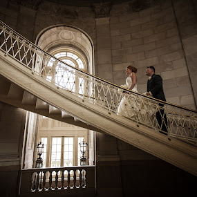 Onward by Mike DeMicco - Wedding Bride & Groom ( love, stairs, weddings, wedding, couple, birde, marriage, groom )