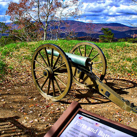 Guarding the Gap by Pat Lasley - Artistic Objects Antiques ( autumn, cumberland gap, civil war, landscape, cannon, antiques, military, kentucky )