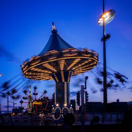 Dusk by Mirza Buljusmic - City,  Street & Park  Amusement Parks ( sweden, malmoe, nx11, blue, malmö, sverige, carousel, malmo, samsung, dusk )