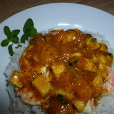 Shrimp With Banana, Guava Salsa over Coconut Rice