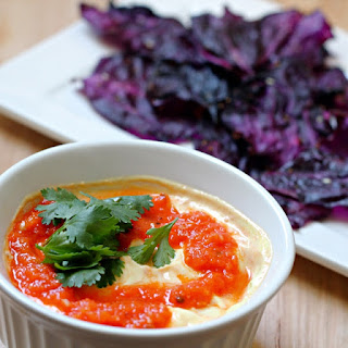 Red Cabbage Chips with Tomato Yogurt Dipping Sauce