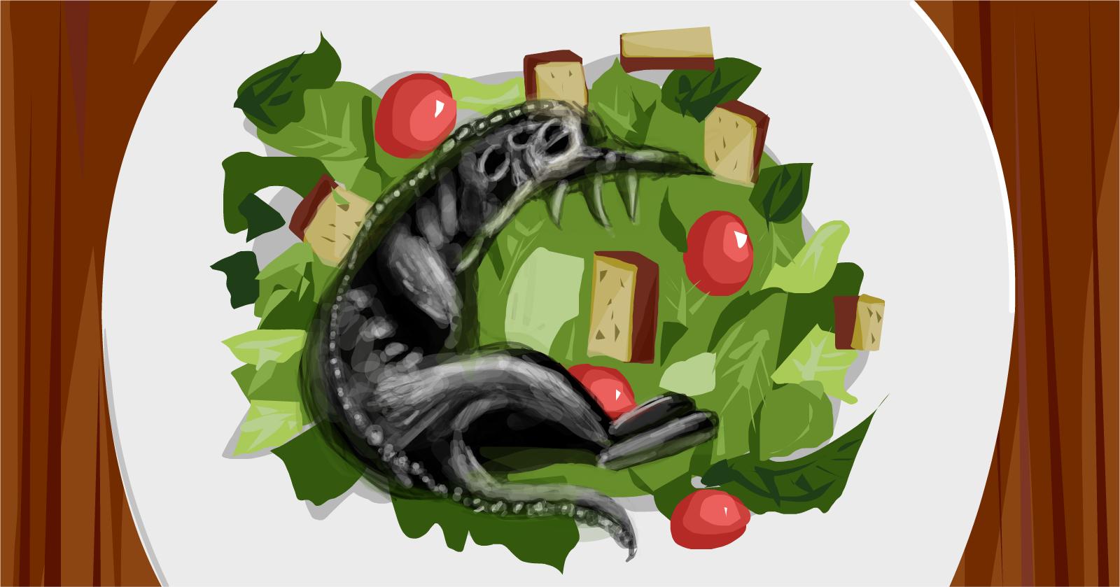 Caesar Salad Drawing Caesar Salad