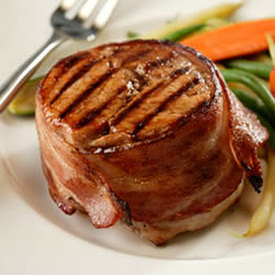 Bacon-Wrapped Pork Chops With Seasoned Butter