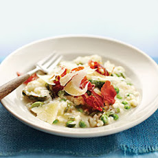 Lemon Ricotta Risotto with Asparagus, Peas, and Prosciutto