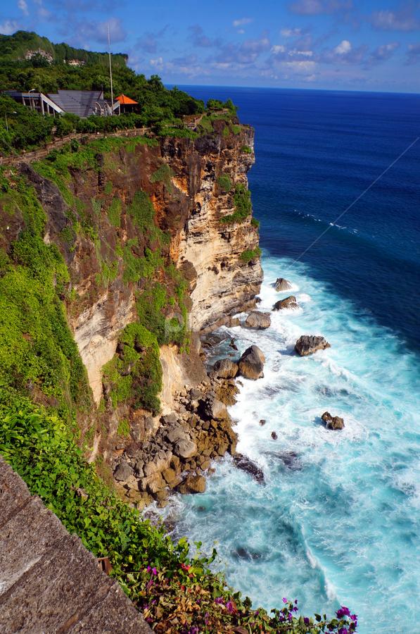 Uluwatu, Bali by Vickie Tan Wai Kie - Landscapes Waterscapes ( waves, bali, blue, ocean, rocks, uluwatu, cliff, temple )
