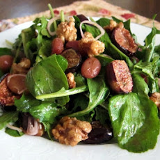 Arugula Salad with Pears, Oven-Dried Grapes, and Roasted-Shallot Vinaigrette