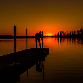 Sunset In Astotin Lake by Joseph Law - Landscapes Sunsets & Sunrises ( astotin lake, peaceful, alberta, sunset, photographer, reflections, elk island, image, deck, beautiful evening )