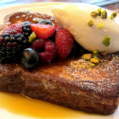 Ricotta-Stuffed French Toast with Summer Berries, Whipped Cream and Maple Syrup