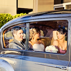 Chatting by Alan Evans - Wedding Other ( wedding photography, bridesmaid, aj photography, chatting, candid, marriage, wedding, wedding day, vintage car, bride and groom, bride, canberra wedding photographer, groom )
