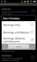 Screenshot of Onguard Weather Alerts