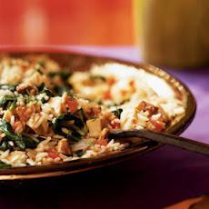 Pilaf with Chicken, Spinach, and Walnuts
