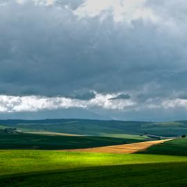 Dassiesfontein by Martha van der Westhuizen - Landscapes Prairies, Meadows & Fields ( clouds, sunrays, meadows, landscape, sunlit, shadows, farm fields )