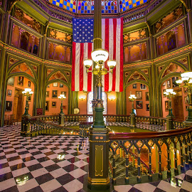 Old Louisiana State Capital by Sheldon Anderson - Buildings & Architecture Public & Historical ( building, flag, old state capital, winding stair case, 2014, louisiana, usa, historic, stained glass )