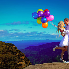 Balloons by Brad N Sky Thomson - People Couples ( #mountain, #kiss, #happy, #love, #balloons )