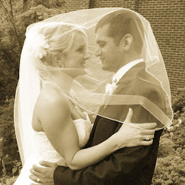 True Love by Jill Rowlan - Wedding Bride & Groom ( black and white, weddings, wedding, bride and groom, veil, marriage )