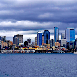 Seattle  by Deanna Matthews - City,  Street & Park  Skylines ( cityscapes, skyline, piers, waterscape, historic district )